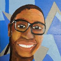 This painting depicts a smiling black teacher with a blue shirt and black glasses. The background has dark and light blue shapes.