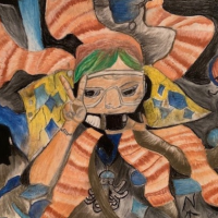 This artwork made with colored pencils depicts a teacher with white skin and green hair wearing a snorkel mask and giving a peace sign with their hands. The background has orange striped octopus legs radiating out from the figure.