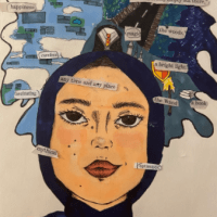 This artwork depicts a girl with peachy skin, a headscarf and a red shirt. behind the figure is a bubble with clouds, a road words. In the cloud it reads, it looks totally empty out there, happiness, magic, the woods, carefee, a bright light, anytime and any place, fascinating, the wand, a book, mythical, optimistic, filled with emotion.
