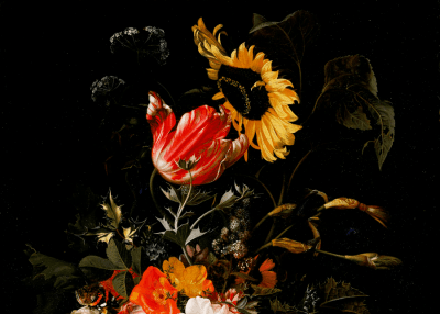 Detail from painting called Bouquet of Flowers in A Vase by Maria van Oosterwyck