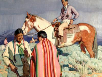 painting of an Indigenous man on a horse and two others with a dead rabbit after a hunt