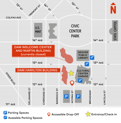Infographic of the museum's location in downtown Denver