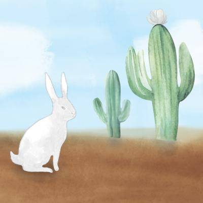 illustration of a white bunny next two 2 cactus with blue sky and clouds behind them