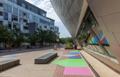 "Andrew Huffman's outdoor installation, ""Domino Projection,"" on the plaza at the Denver Art Museum"