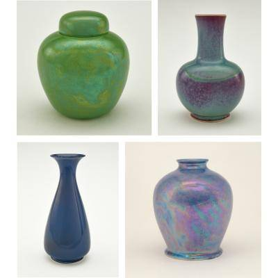 Photo collage of four Ruskin pots, in different sizes, shapes, and colors