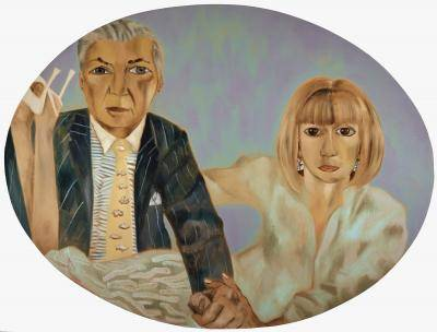 Painting portrait of Kent Logan on the left and Vicki Logan on the right