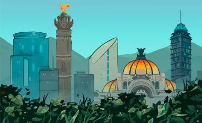 illustrated skyline of Mexico City
