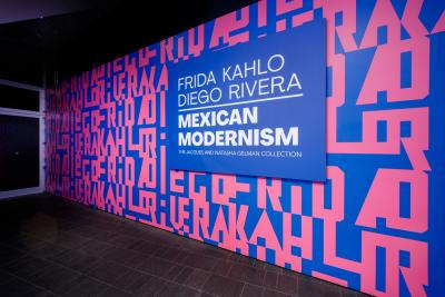 Colorful title wall logo for the Frida Kahlo exhibition