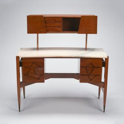 Wood Ponti desk with white marble top