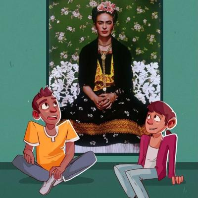 Illustration of two teens sitting in front of a portrait of Frida Kahlo