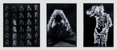 contact sheet images of Senga Nengudi's art performance where she put small bits of masking tape on her as she explored movement and elements of her African heritage of mask making, dance. rites and rituals