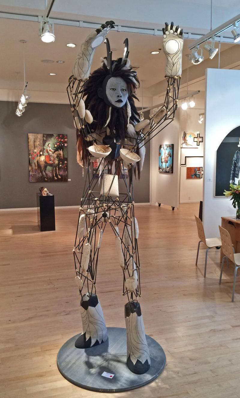 Tall sculpture installation