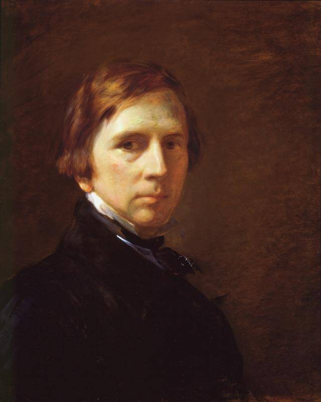 Middle-aged brown-haired George Richmond posing for a portait