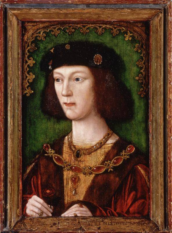 A young Henry VIII posing for portrait with arms folded