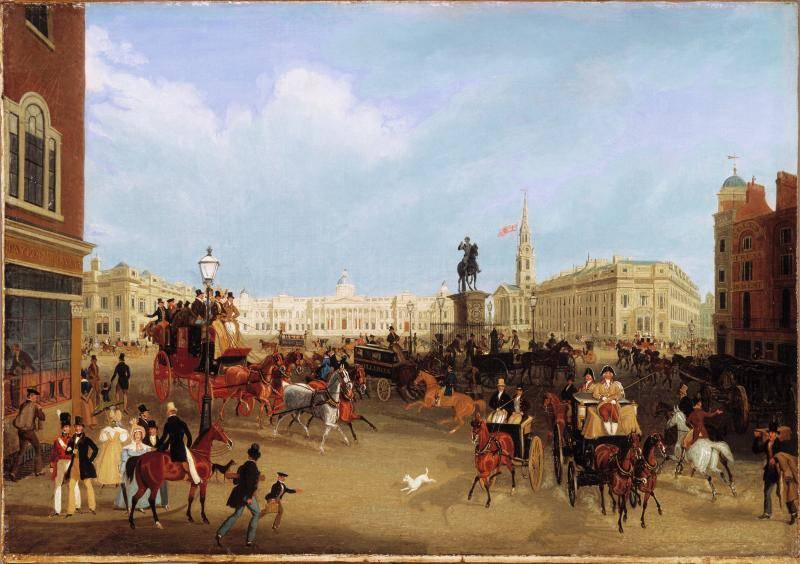 James Pollard British, 1792-1867 Trafalgar Square, about 1838–39 Oil paint on canvas Signed and indistinctly dated at lower left, J Pollard 183[?] Gift of the Berger Collection Educational Trust, 2018.18