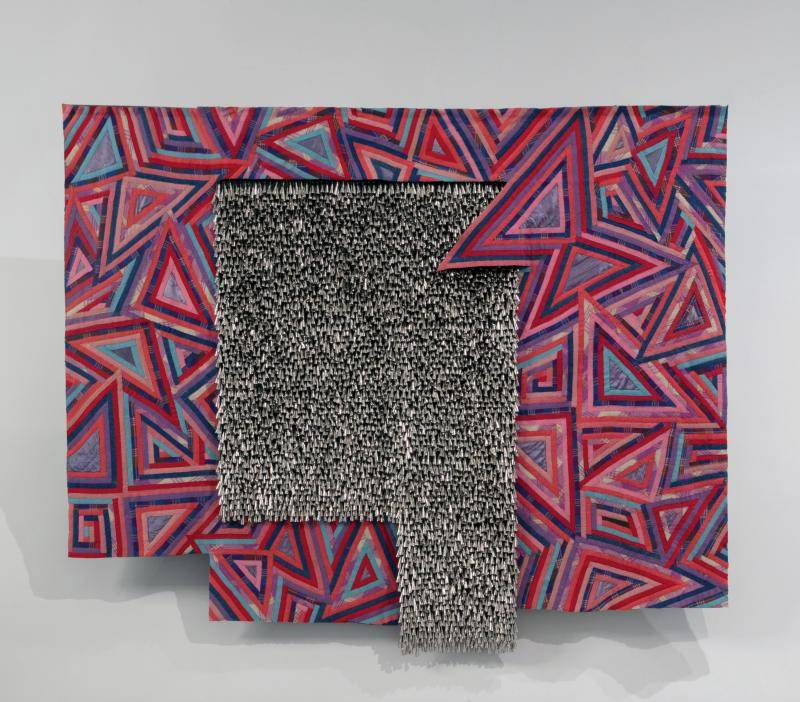 Marie Watt (Seneca),Butterfly, 2015. Reclaimed wool blankets, satin binding, thread, cotton twill tape and tin jingle