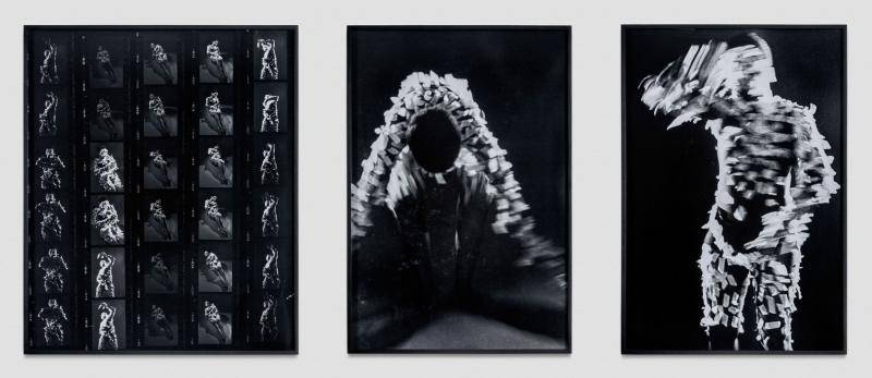 Three-panel silver gelatin prints on contact sheet