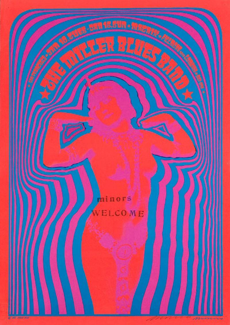 Psychedelic concert poster with red silhouette of woman at the center