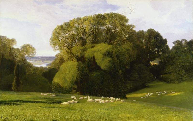 Lush green painting of the English countryside
