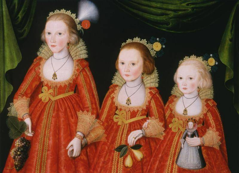 Painting of three young girls in bright red dresses