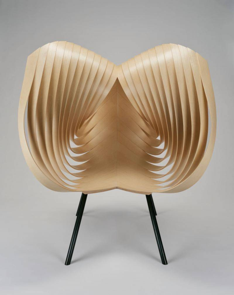 Curved stylized wooden chair