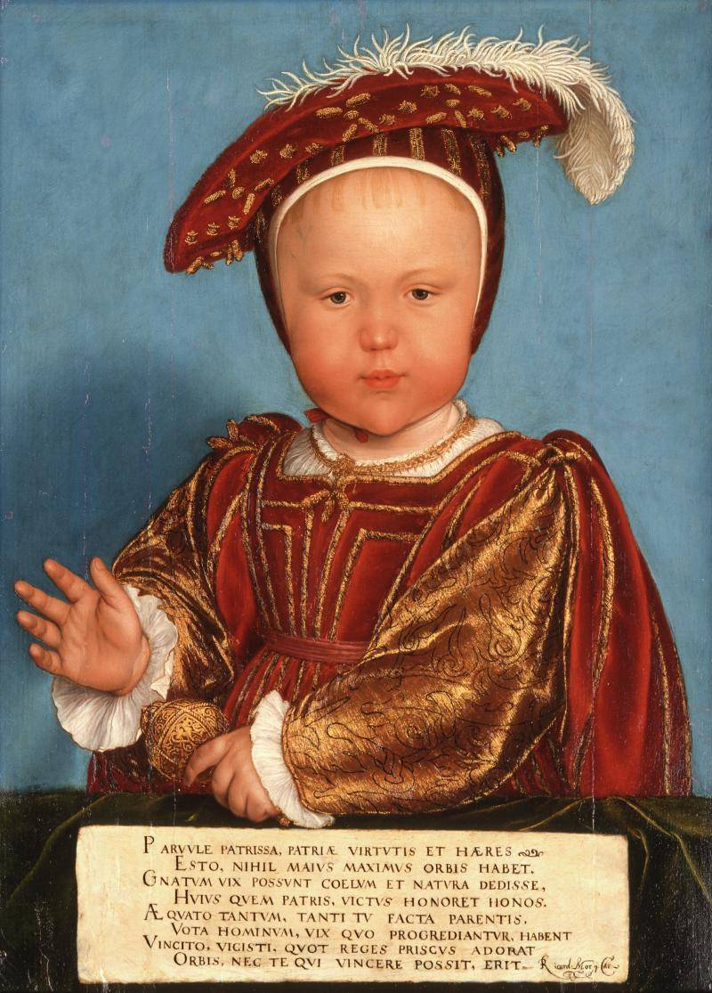 Oil painting by Hans Holbein the Younger and studio of Edward, Prince of Wales (later Edward VI)