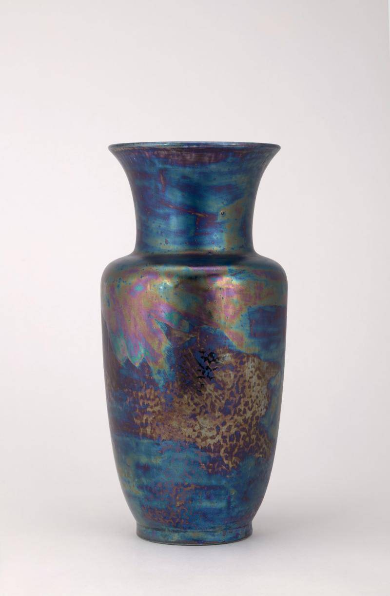 Stoneware vase with kingfisher blue luster glaze