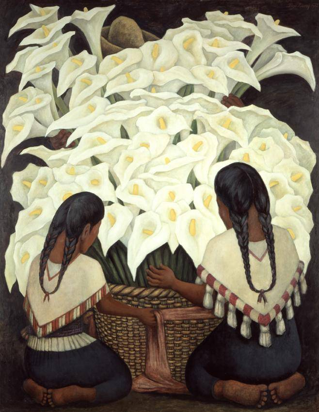 Two women kneeling before a large basket of overflowing lillies