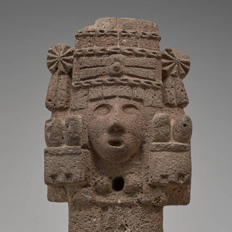Aztec statue of Chicomecóatl (Maize Goddess) made of volcanic stone