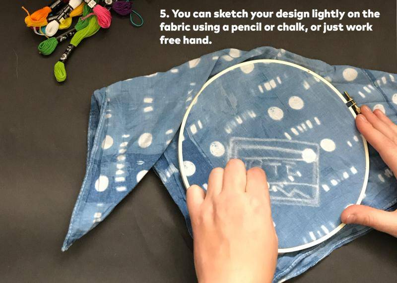 Step 5: You can sketch your design lightly on the fabric using a pencil or chalk, or just work free hand.