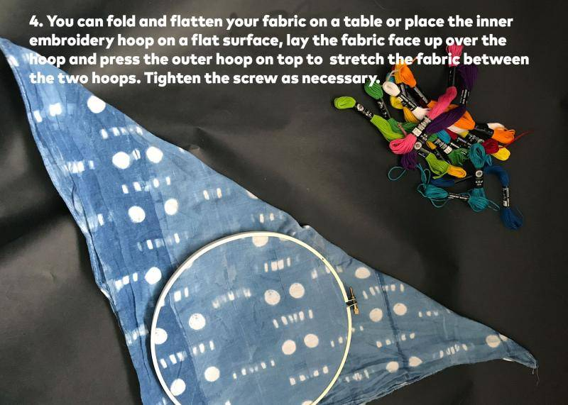 Step 4: You can fold and flatten your fabric on a table or place the inner embroidery hoop on a flat surface, lay the fabric face up over the hoop and press the outer hoop on top to stretch the fabric between the two hoops. Tighten the screws as necessary.