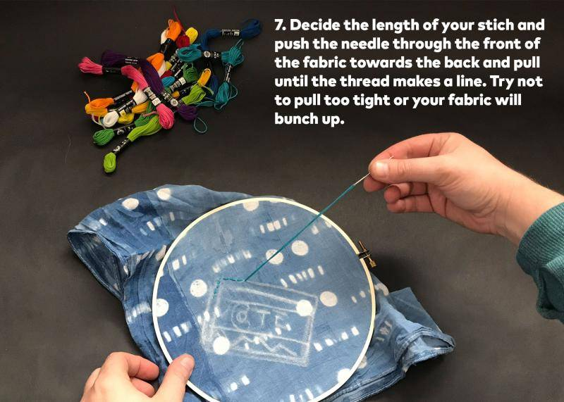 Step 7: Decide the length of your stitch and push the needle through the front of the fabric towards the back and pull until the thread makes a line. Try not to pull too tight or your fabric will bunch up.