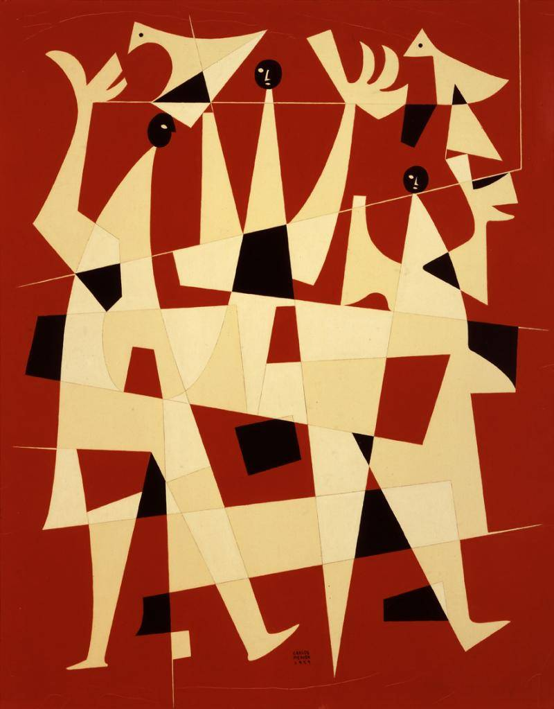 Abstract geometric figure of birds in red, black, and yellow