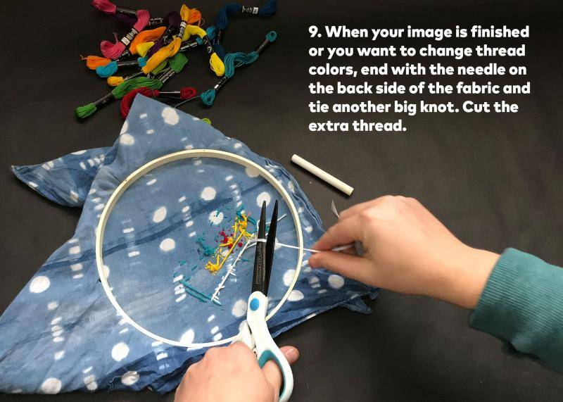 Step 9: When your image is finished or you want to change thread colors, end with the thread needle on the back side of the fabric and tie another big knot. Cut the extra thread.