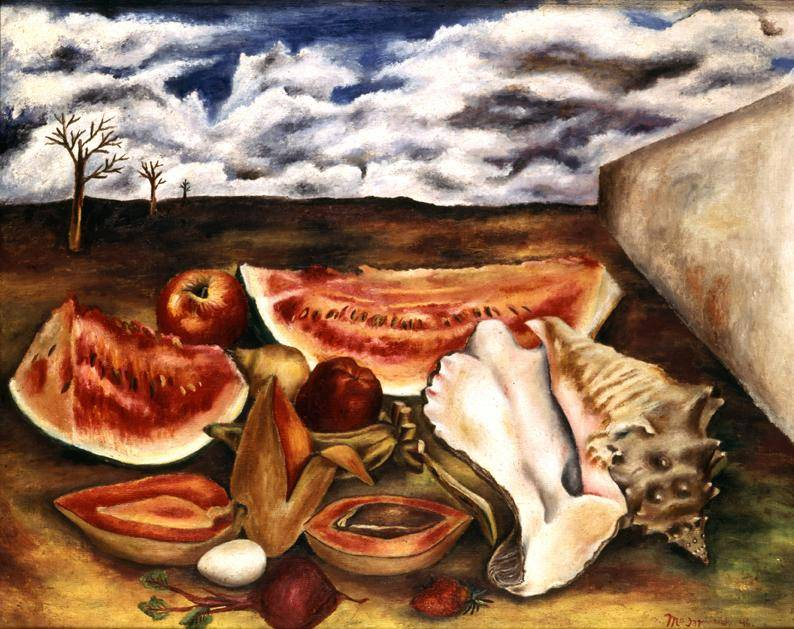 A picnic of watermelon, apples, and other fruit against a landscape backdrop