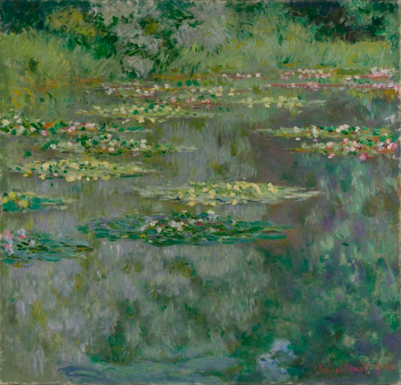 Impressionistic painting of a green lake filled with lily pads