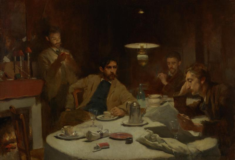 Group of men gathered around the breakfast table