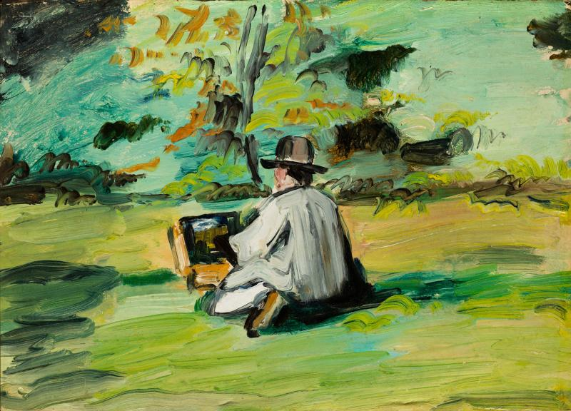 Impressionistic painting of a man with his art supplies in the middle of a green field.