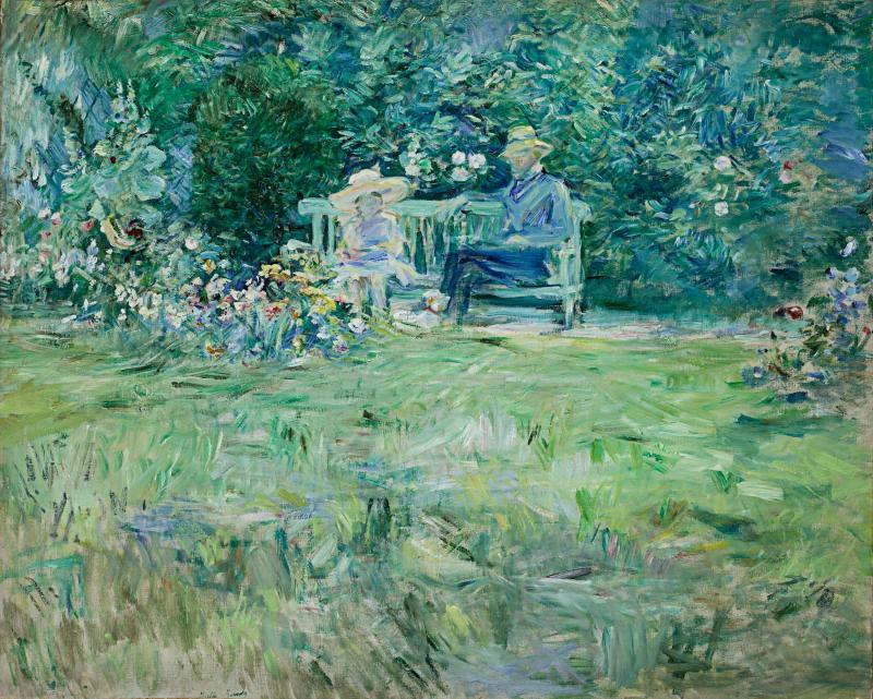 Impressionistic painting of a couple sitting on a bench in a garden.