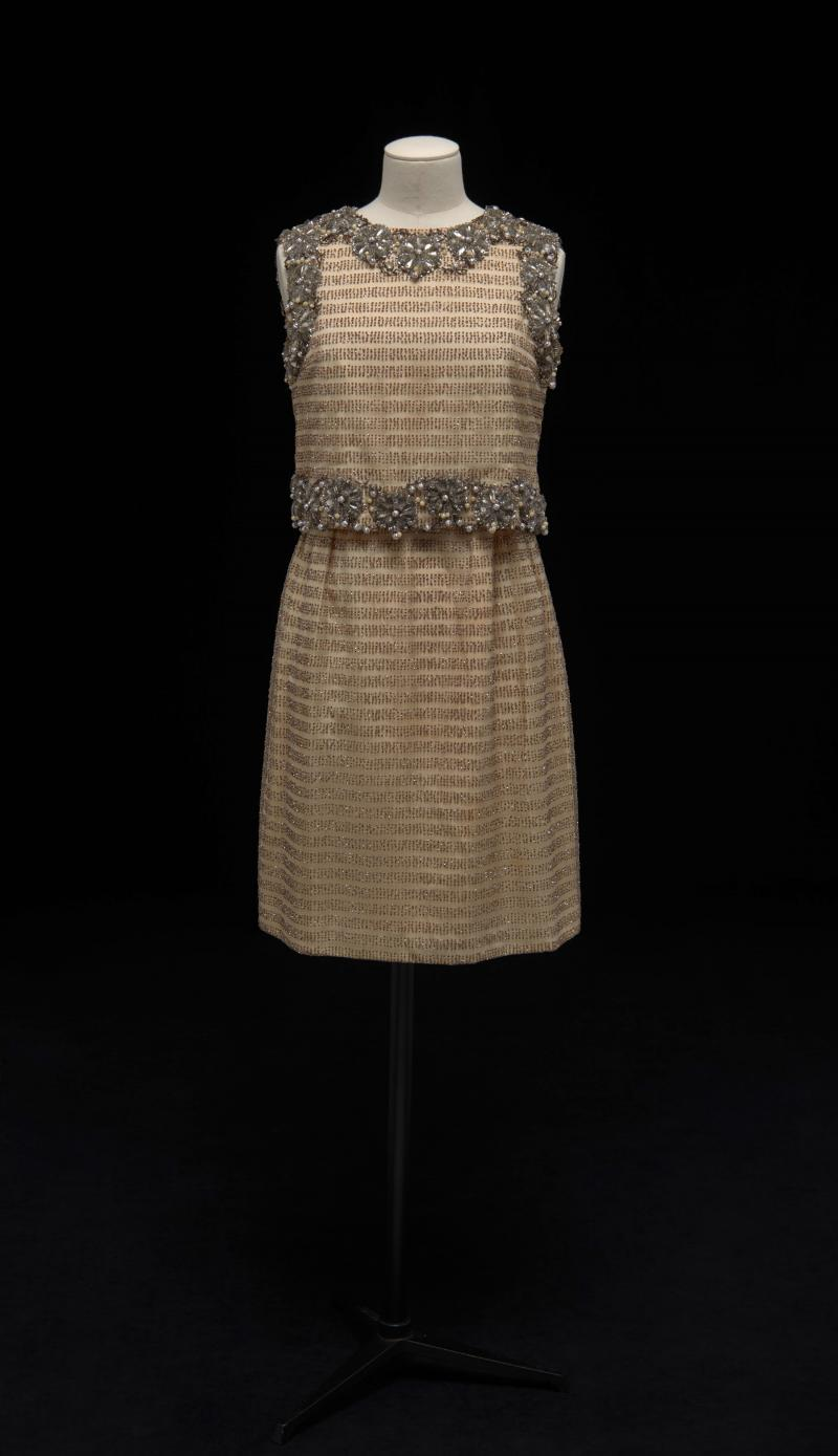 Silk and synthetic net dress with rhinestones, beads, and sequins