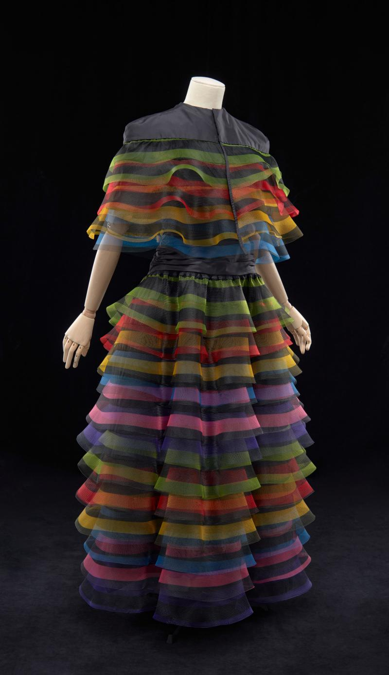 Couture dress with rainbow-colored ruffles
