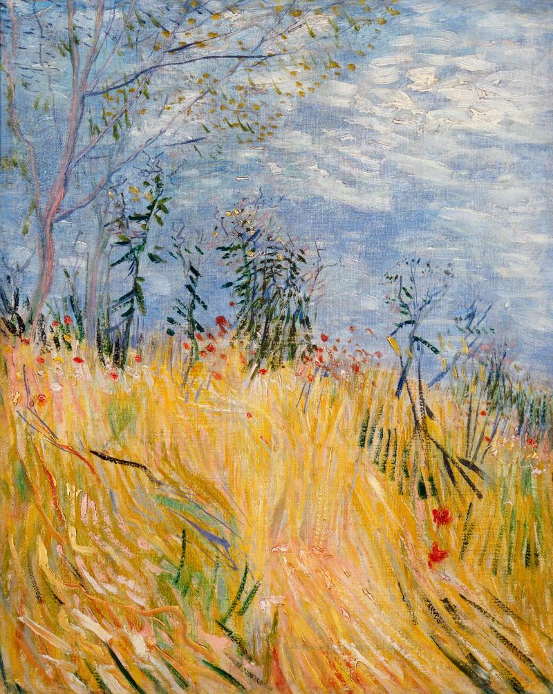 Impressionistic painting of a wheat field against a dreamy blue sky.