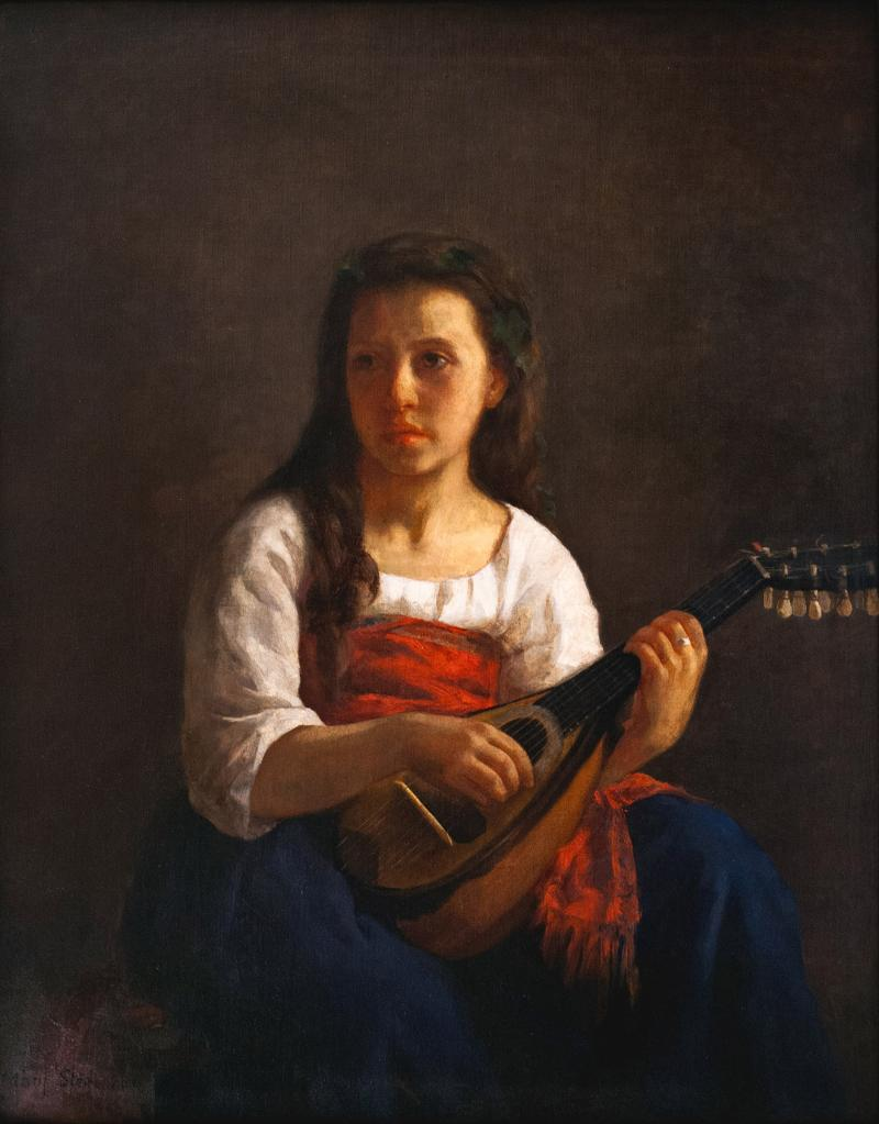 Dimly lit portrait of a woman holding a mandolin.
