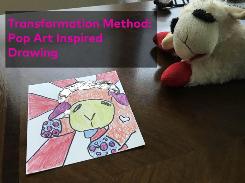 Artful Transformation title image of a drawing next to a stuffed animal