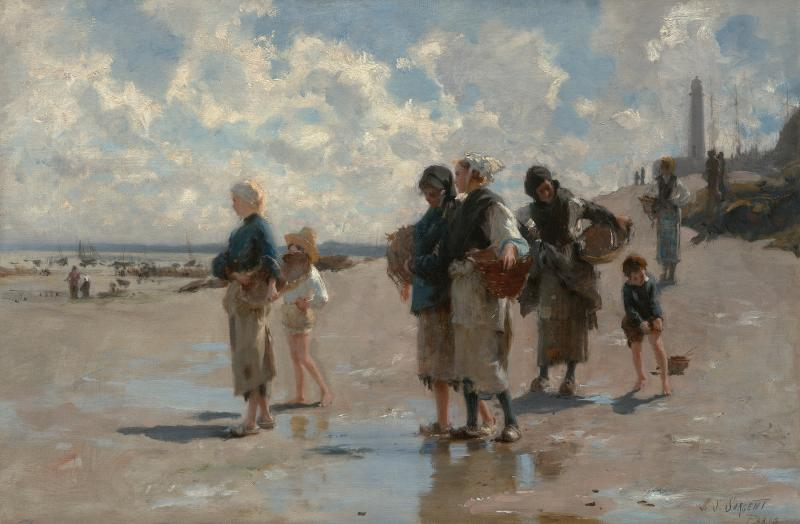 A group of men, women, and children fishing for oysters at the beach.