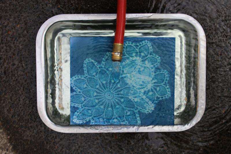Cyanotype print in water
