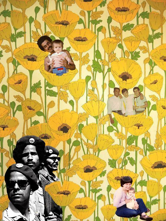 Yellow flower wallpaper with collage black and white faces