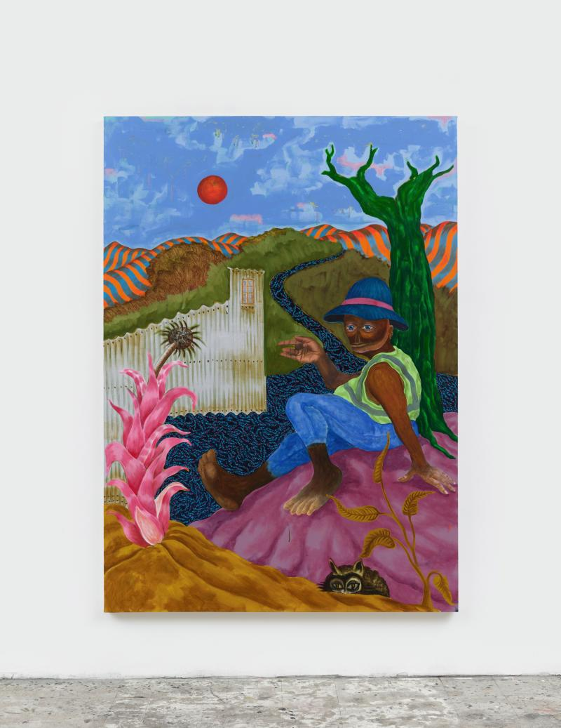 A Black figure sitting in a fantastical countryside as the sun fades in the sky