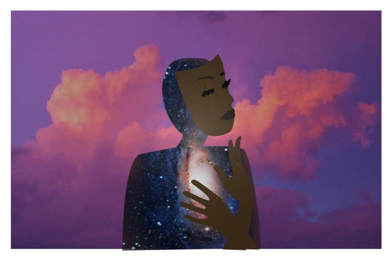 This digital artwork has a  figure with stars on their silhouette, their face has a brown complexion is a floating mask and their hands are crossed over their heart. The background has purple clouds.