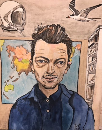 This artwork depicts a white male teacher from the chest up with short brown hair a button up blue shirt and blue jacket. The background shows a space helmet, a flying seagull, a world map and a bookshelf.
